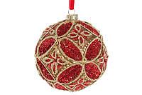 Шар елочный с декором 10см, цвет - красный гренадин, набор 4 шт