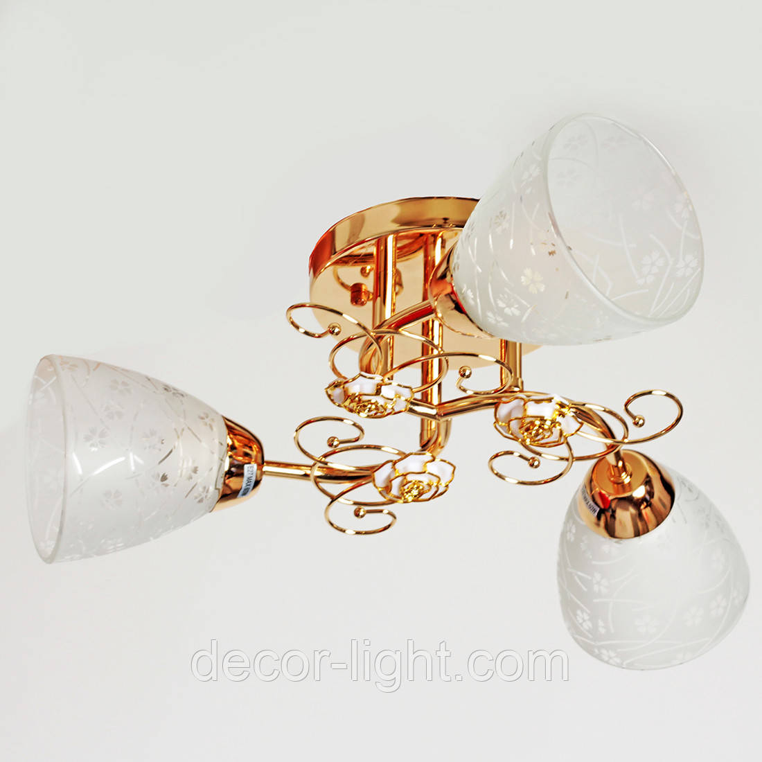 Люстра потолочная 3-х ламповая в золоте в спальню, коридор  SH-7090/3 FG