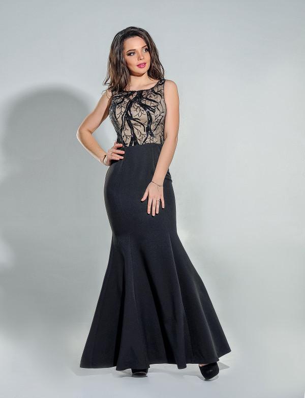 Платье женское чёрное - капучино вечернее ENIGMA MKENG3033