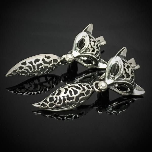Серебряные серьги Лиса с подвеской