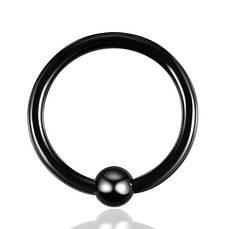 Кольцо с шариком (хир. сталь, черный)