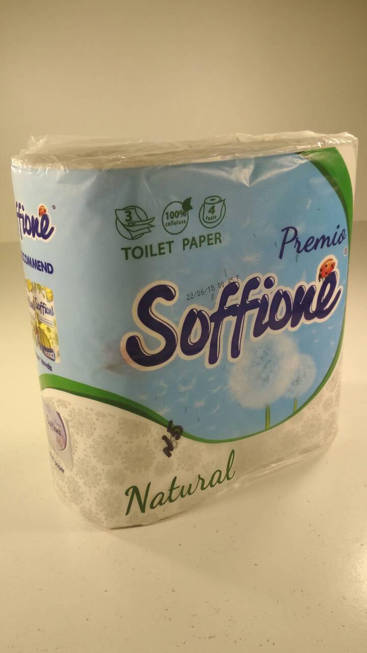 Туалетная бумага белая 3-слойная SOFFIONE NATURAL ( 4 шт/пач)