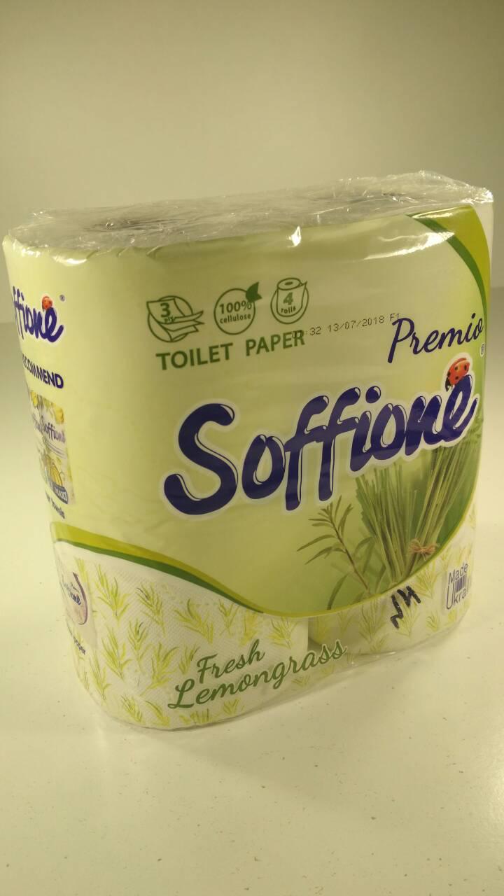 Туалетная бумага белая 3-слойная ароматизированная с зеленым тиснением SOFFIONE FRESH ( 4 шт/пач)