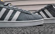 Кроссовки мужские серые Adidas Campus Gray Blue (реплика), фото 3