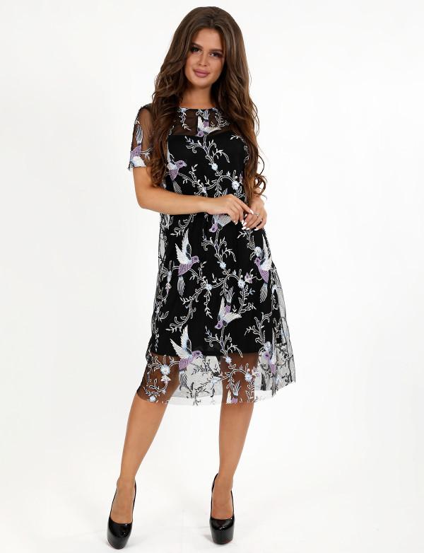Платье женское чёрное вечернее ENIGMA MKENP 0079