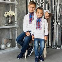 Стильная детская вышиванка для мальчика с геометрическим узором домотканое полотно