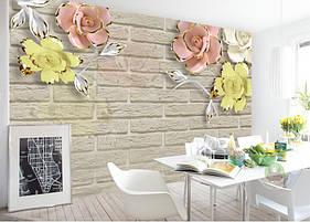 """3D фотообои """"Цветы на кирпичной стене"""""""