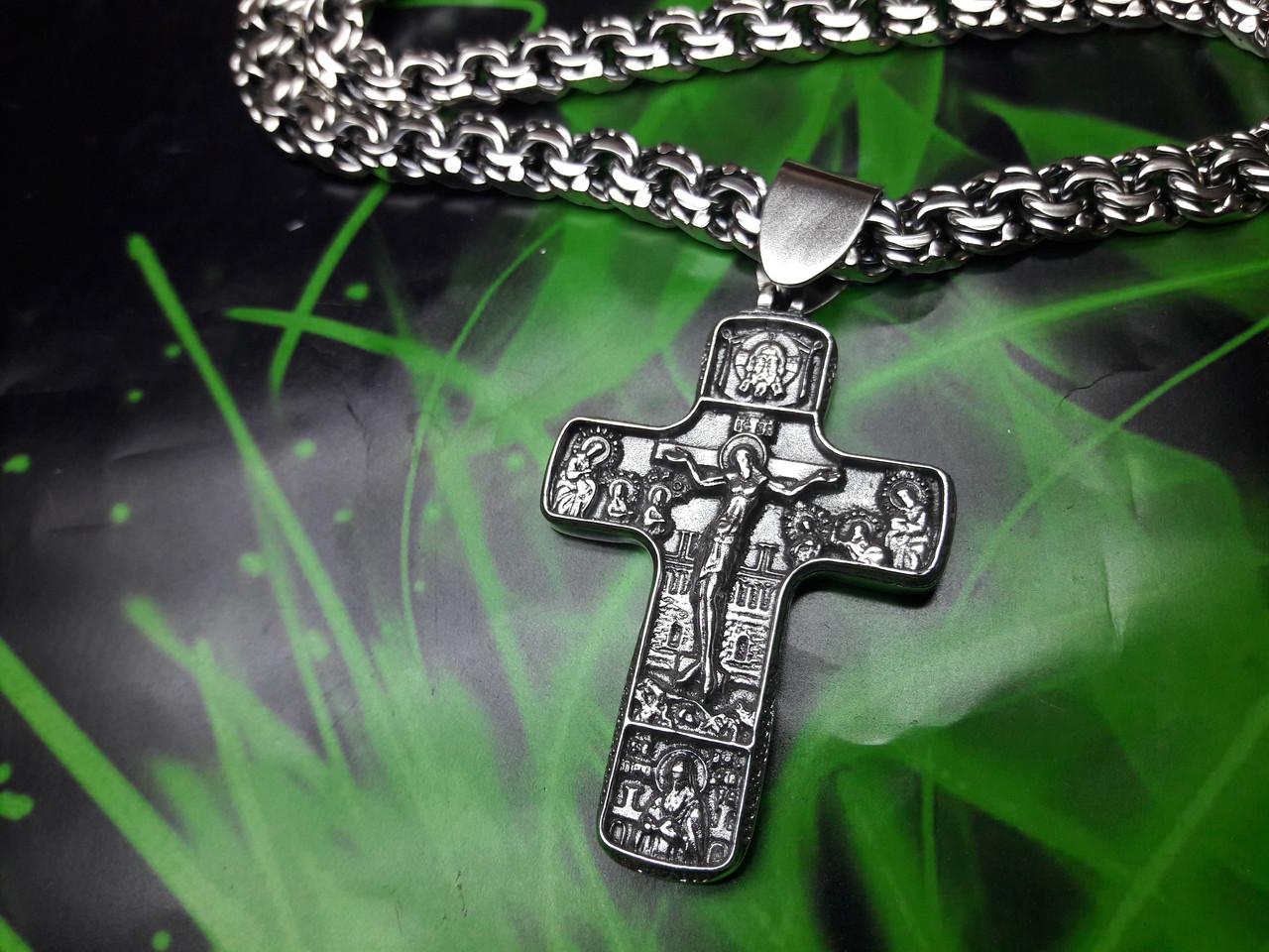 Серебряный крест с молитвой Отче Наш