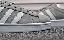 Кроссовки мужские серые Adidas Campus Gray (реплика), фото 3