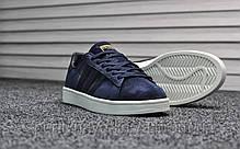 Кроссовки мужские синие Adidas Campus Blue (реплика), фото 3