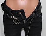 Джинсы женские леггинсы молодежные, серо-черные, колени сеточка, фото 6
