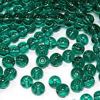 Бусины хрустальные Шар D- 6мм пачка - примерно 65шт, цвет - изумрудный прозрачный глянец