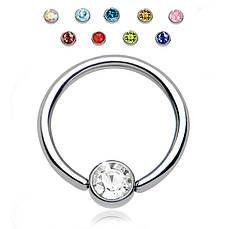 Кольцо с шариком с камнем (хир. сталь)