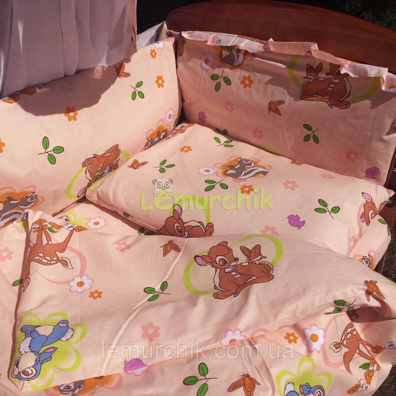 """Постільний набір в дитячу ліжечко (8 предметів) Premium """"Бембі"""" персиковий"""
