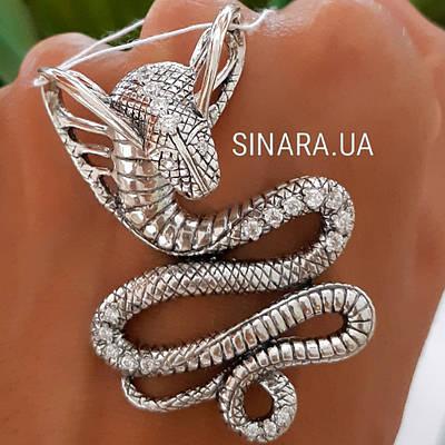 Серебряный кулон Кобра - Подвеска Змея серебро