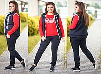 Теплый спортивный костюм тройка . Ткань трехнитка. Размер 48-50, 52-54, 56-58. В наличии 4 цвета, фото 1