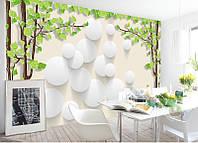 """3D фотообои """"Деревья и белые шары"""""""