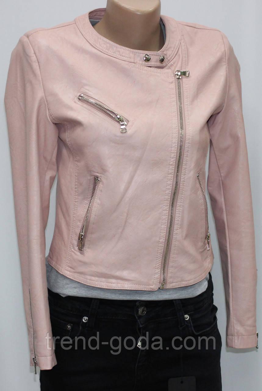 Куртка-косуха короткая женская, иск.кожа, розовая, осень/весна