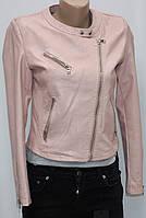 Куртка-косуха короткая женская, иск.кожа, розовая, осень/весна, фото 1