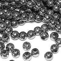 Бусины хрустальные Шар D- 6мм пачка - примерно 65шт, цвет - серебряный непрозрачный