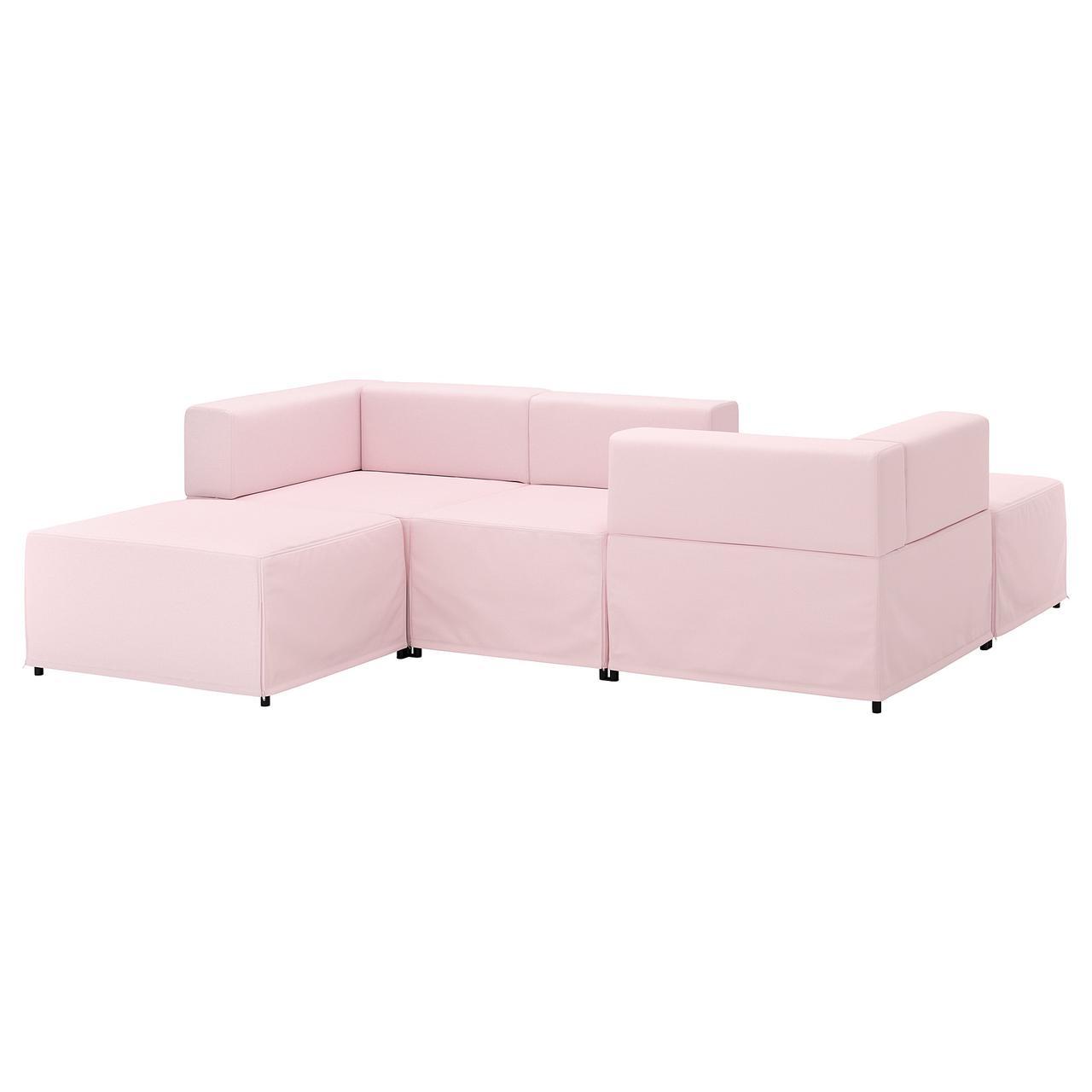 Диван IKEA KUNGSHAMN модульный 3-местный Idekulla розовый 792.513.97