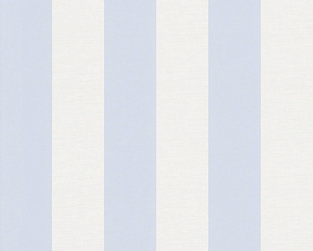 Износостойкие обои в белую и голубую полоску 314024, моющиеся виниловые на флизелиновой основе