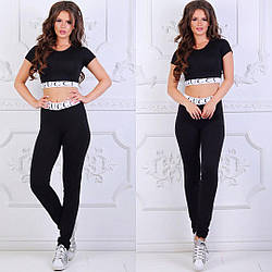Женский костюм для фитнеса черный