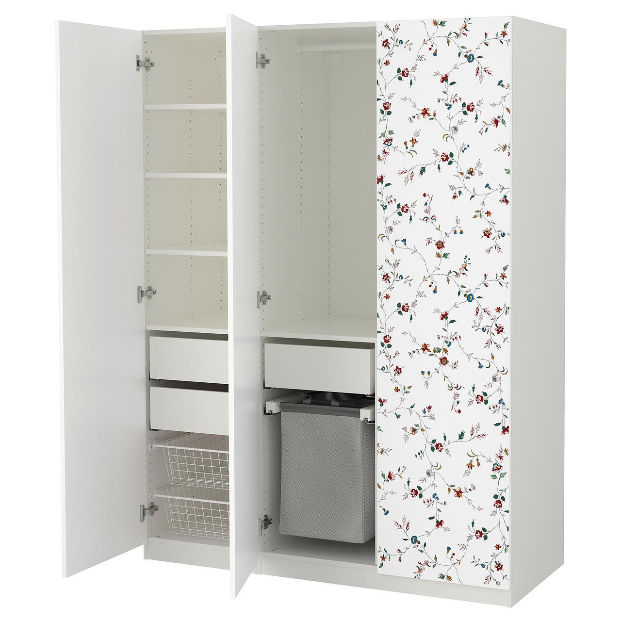 Шкаф IKEA PAX Marnardal белый с цветочным узором 892.650.25