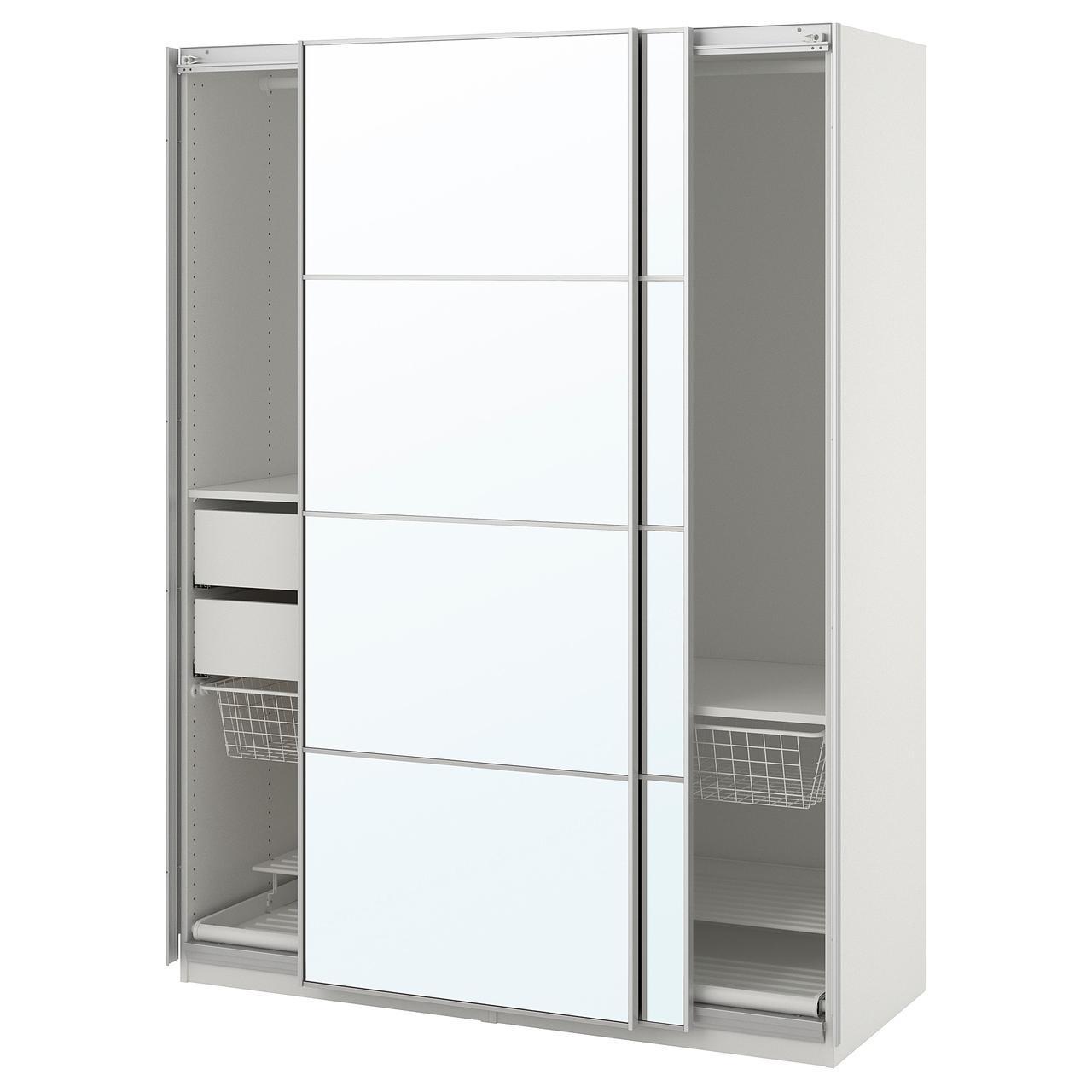 Шкаф-купе IKEA PAX Auli белый с зеркалом 392.649.38