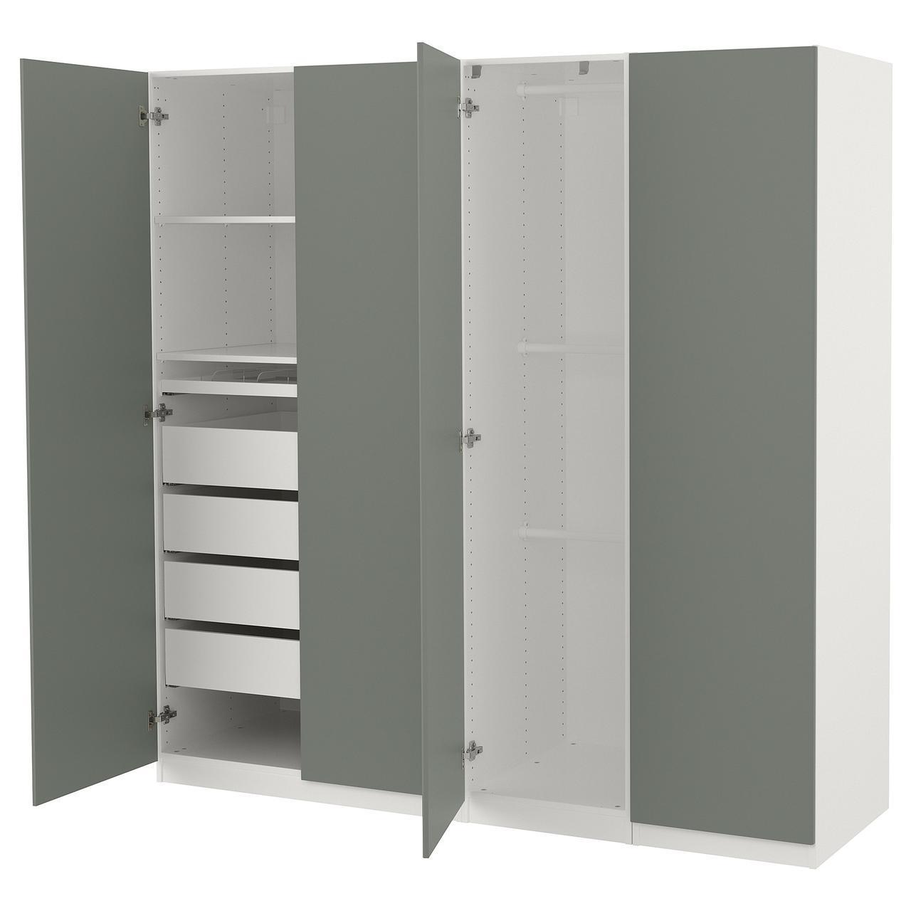 Шкаф IKEA PAX Reinsvoll белый серо-зеленый 892.758.21