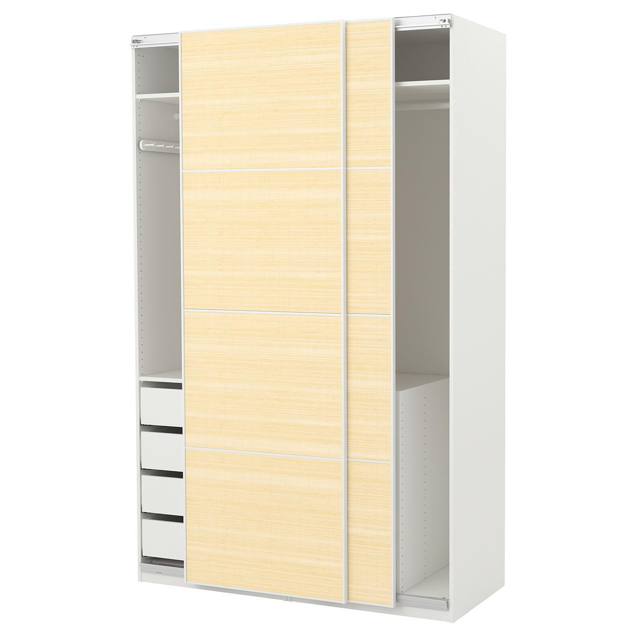 Шкаф-купе IKEA PAX 150x66x236 см Fjellhamar белый светлый бамбук 592.433.32