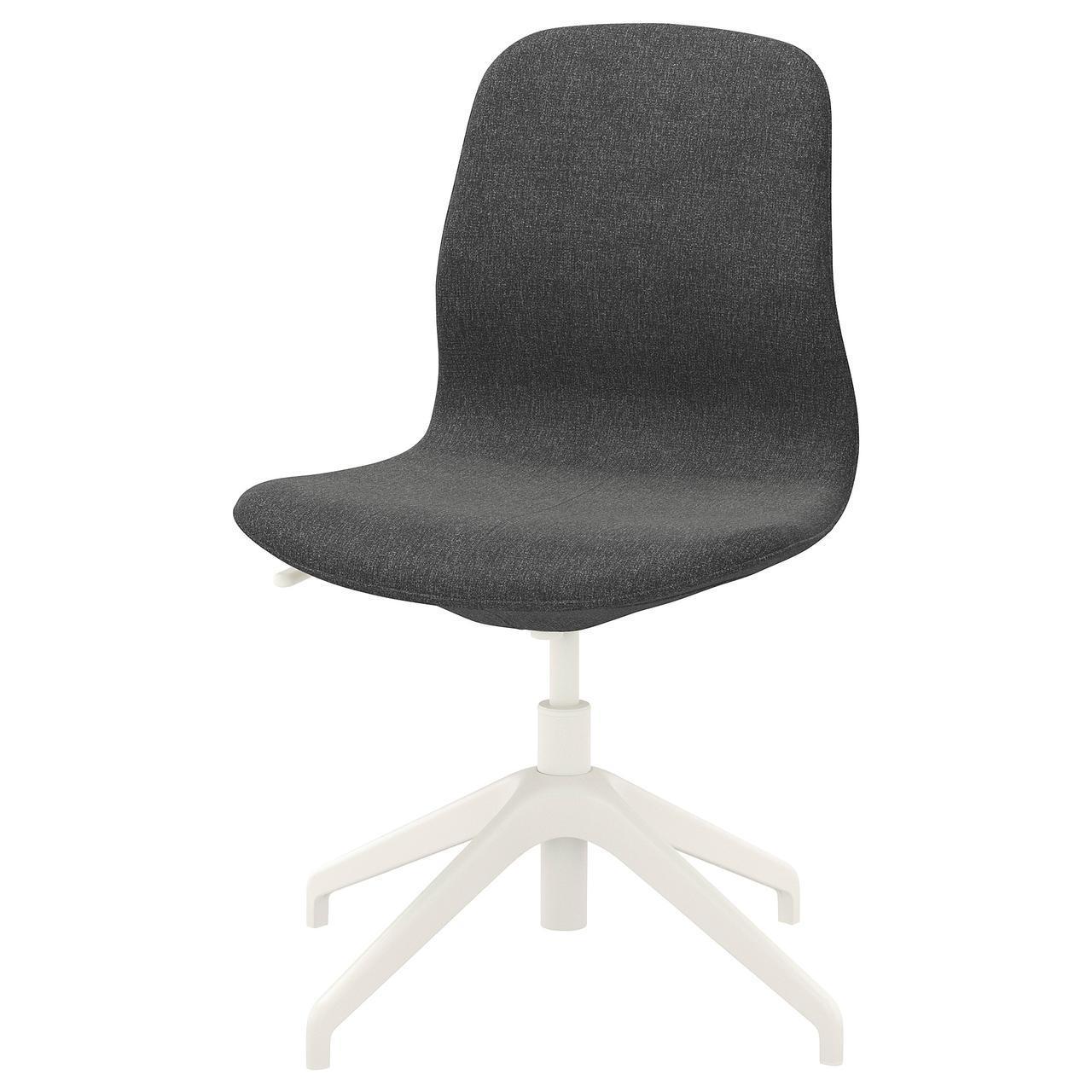 Компьютерное кресло IKEA LÅNGFJÄLL Gunnared темно-серое белое 492.522.75
