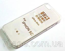 Чехол для iPhone 5c силиконовый ультратонкий прозрачный