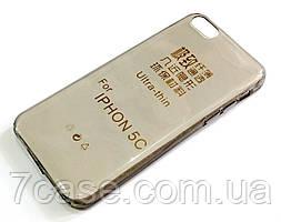 Чехол для iPhone 5c силиконовый ультратонкий прозрачный серый