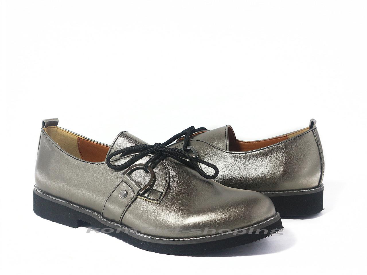 Туфли  женские  кожаные, цвет бронза  V 1198