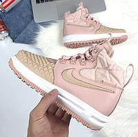 Женские кроссовки Nike Lunar Force 1 Duckboot Pink теплые. Живое фото. (Реплика ААА+)