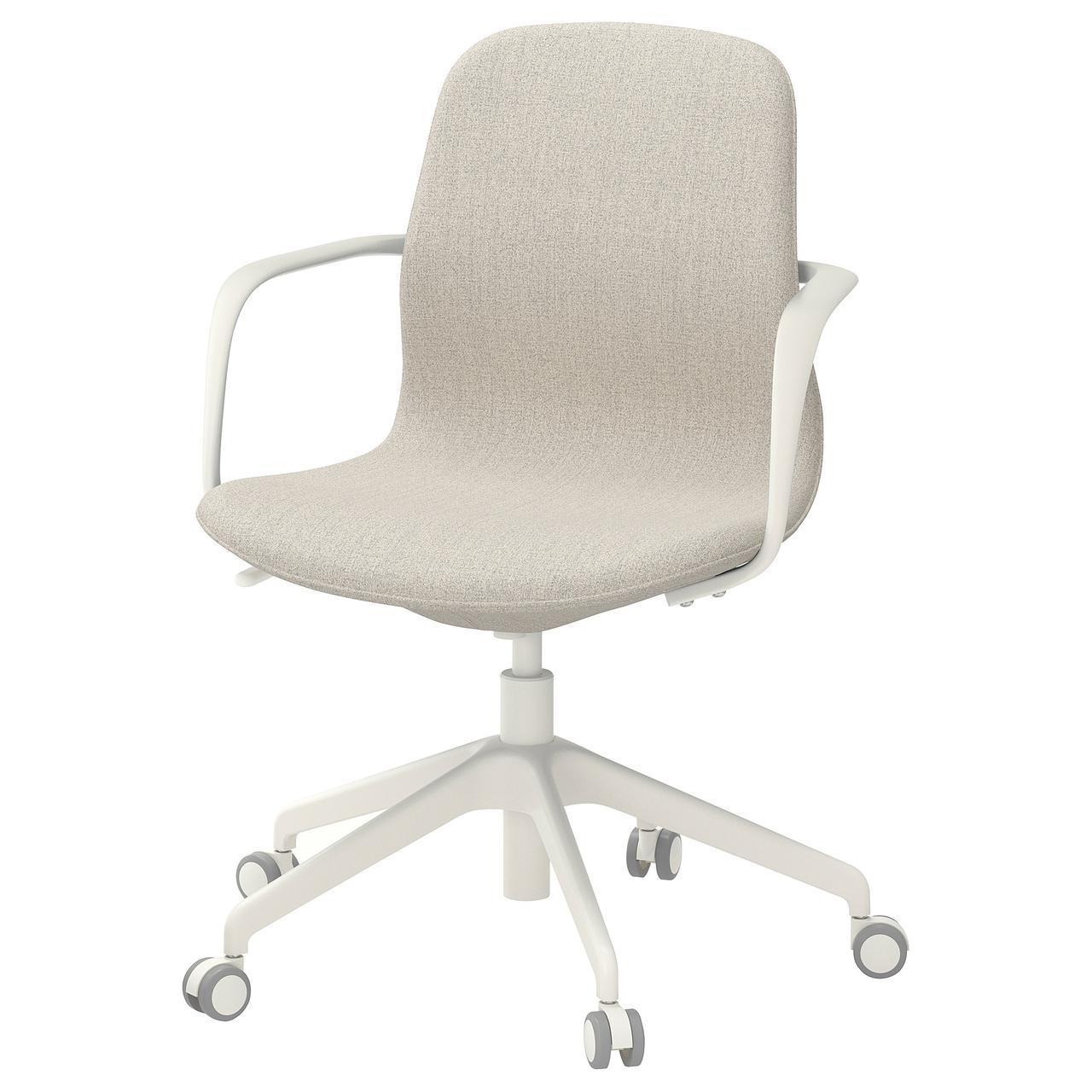 Компьютерное кресло IKEA LÅNGFJÄLL Gunnared бежевое белое 492.527.65