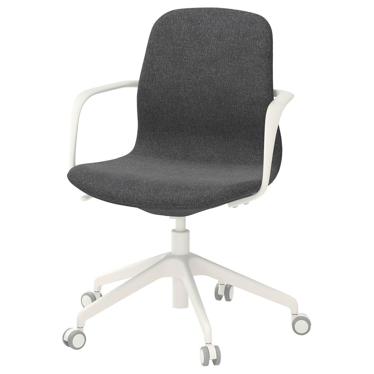 Компьютерное кресло IKEA LÅNGFJÄLL Gunnared темно-серое белое 892.527.73