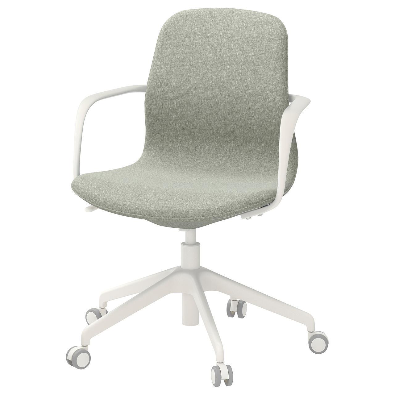 Компьютерное кресло IKEA LÅNGFJÄLL Gunnared светло-зеленое белое 192.527.81