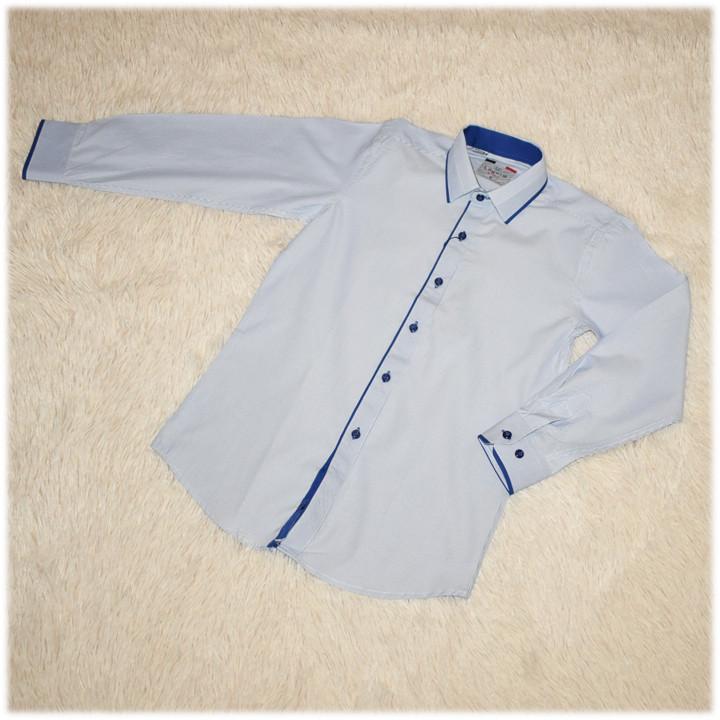 Рубашка школьная на мальчика белая в полоску ТМ Lagard Kids размер  140 146