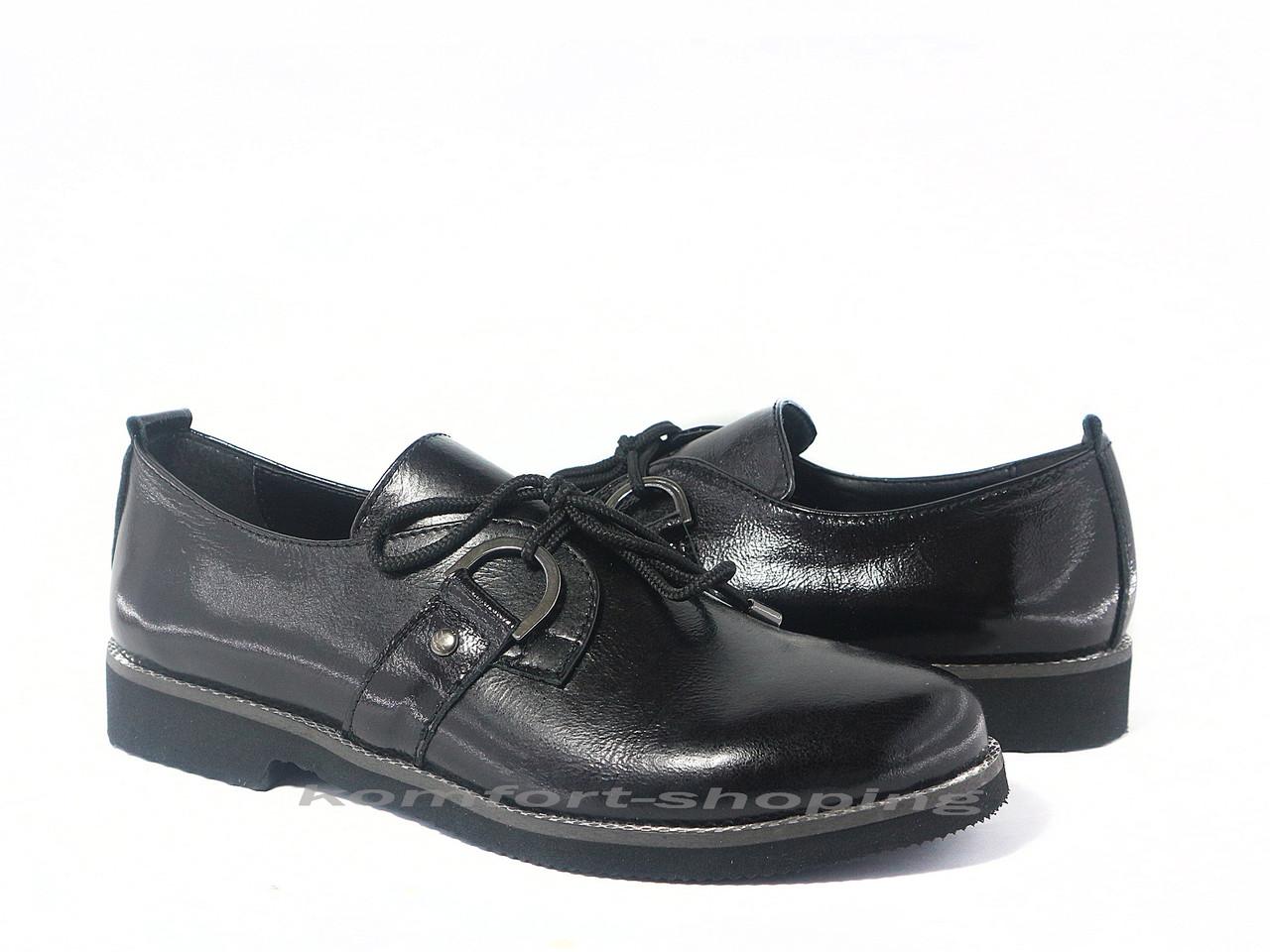 Туфли  женские  лаковые, черные V 1198