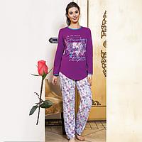 Женская пижама с футболкой и брюками Т 9313  Сирень