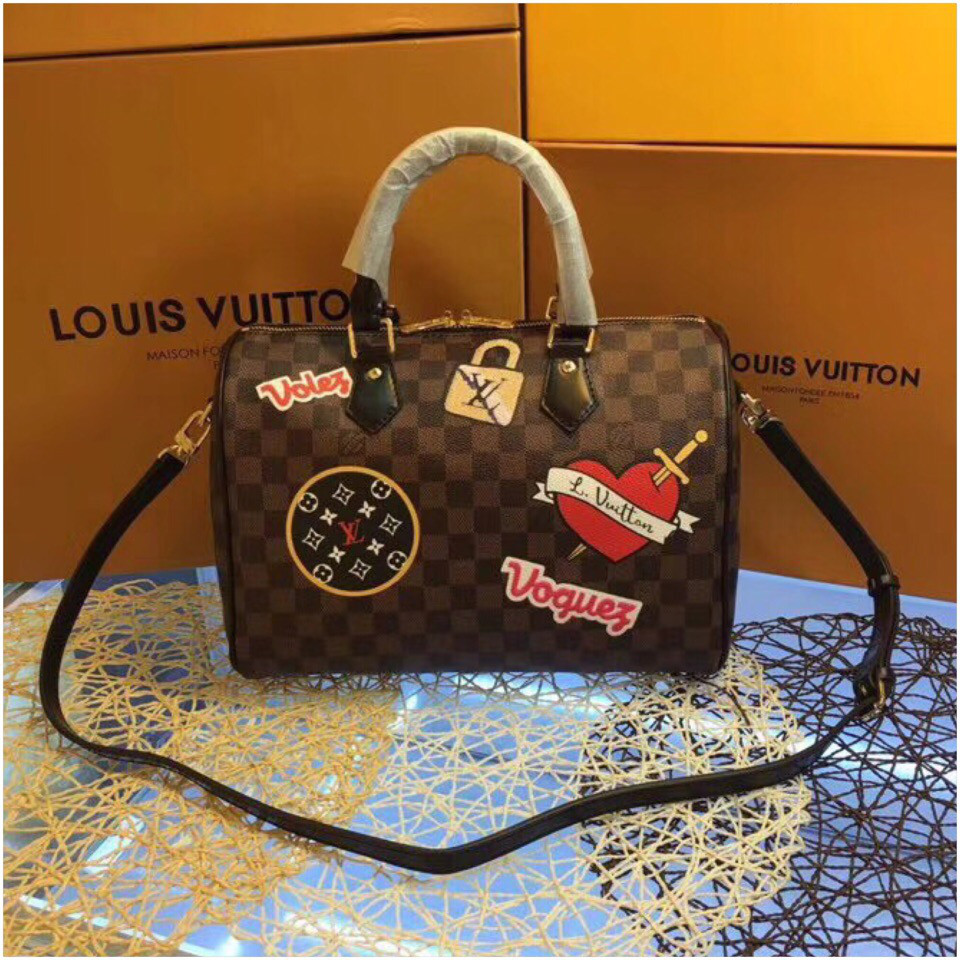 08e97aade470 Сумка Louis Vuitton Луи Витон Speedy, канва Damier Eben, Patches 30 см,  кожаная