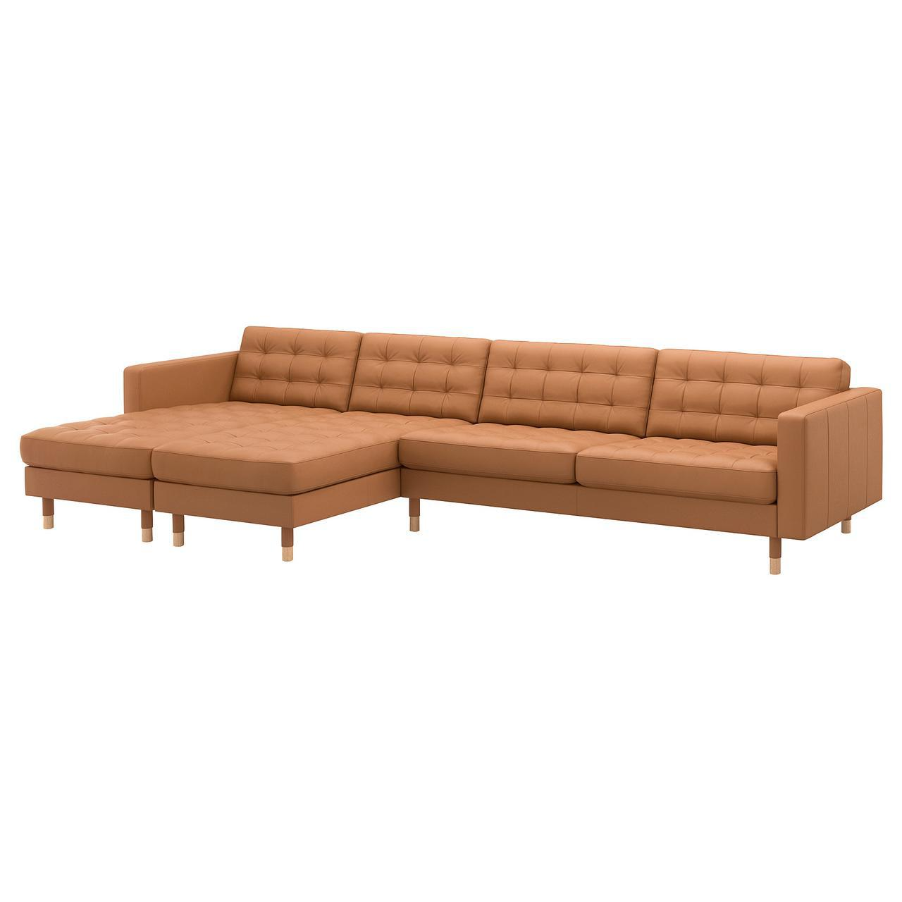 Диван IKEA LANDSKRONA с шезлонгом Grann Bomstad светло-коричневый 292.691.54