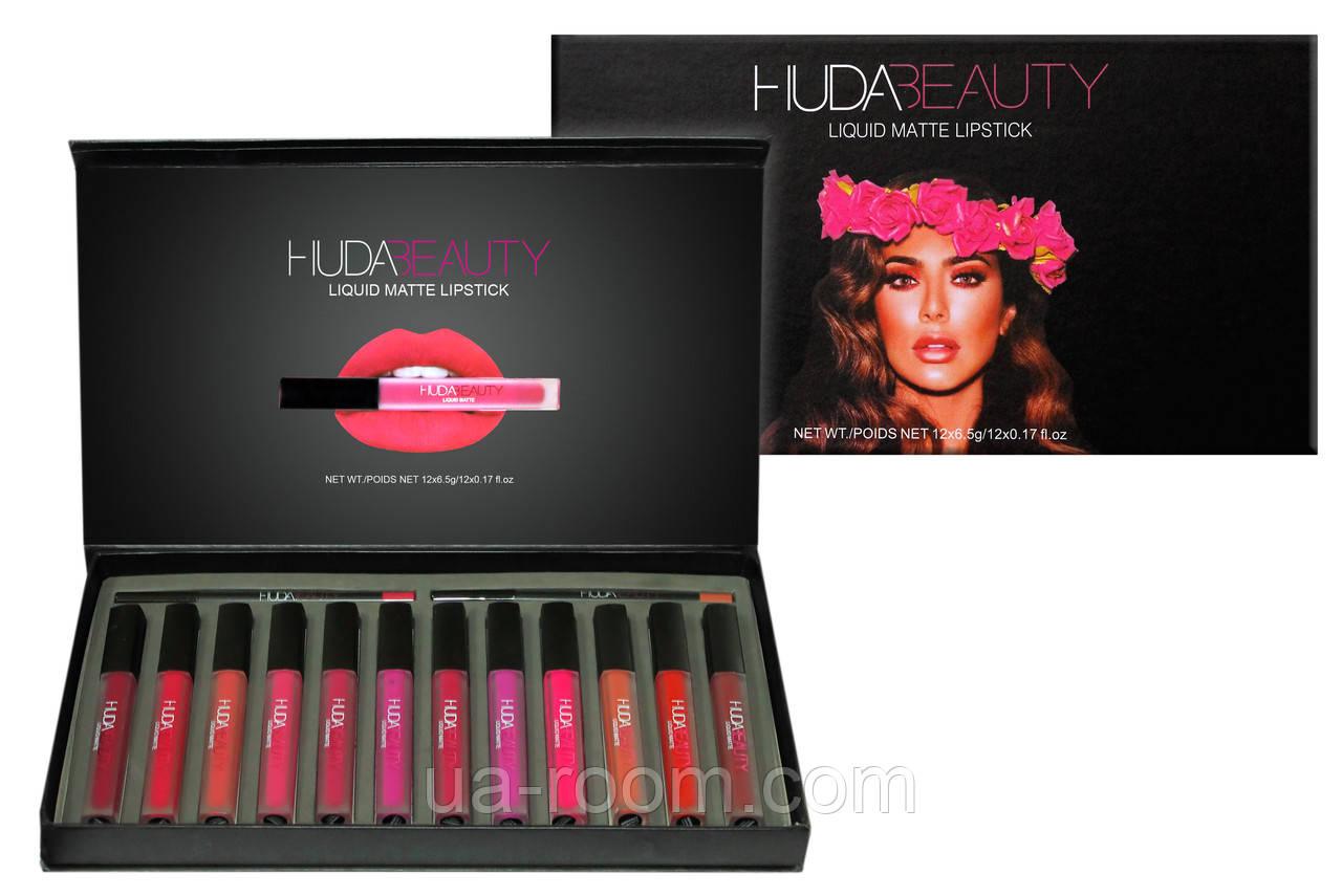 Набор жидких матовых помад (12 шт.) + карандаши для губ (2 шт.) Huda Beauty