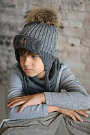 """Зимняя шапка меринос с большим бубоном из натурального енота """"Бенни"""", 48, 50, 52, 54, 56"""
