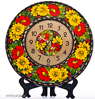 """Часы деревянные """"Киевская роспись. Подсолнухи"""" 29 см"""