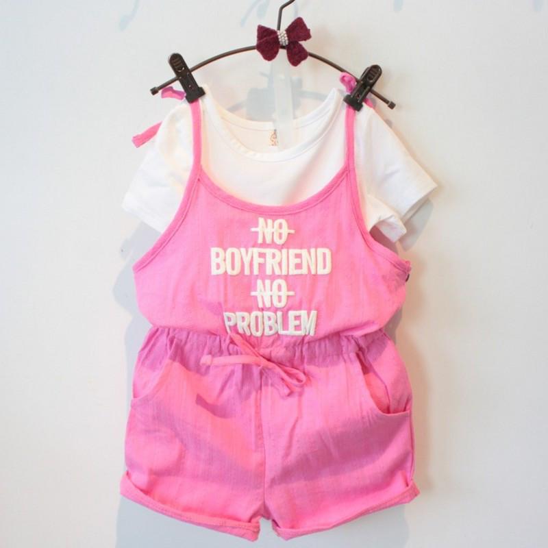 Комплект футболка и ромпер June Kids рост 128 см белый+розовый 06030