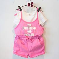 Комплект (футболка + ромпер) June Kids 128 см Белый с розовым (06030), фото 1