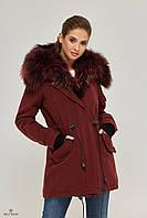 Зимняя женская парка-пальто из кашемира с мехом П-52, фото 1
